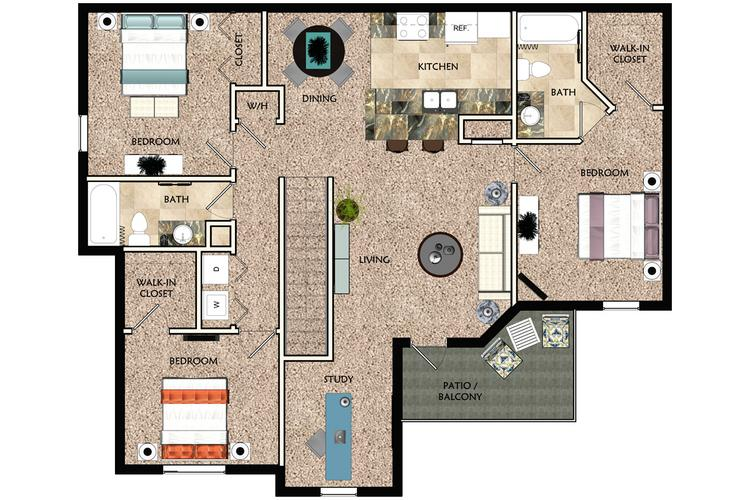 2D |  The Viera contains 3 bedrooms and 2 bathrooms in 1592 square feet of living space.