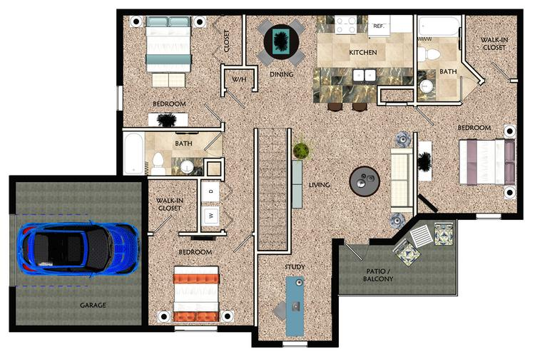 2D | The Viera with Garage contains 3 bedrooms and 2 bathrooms in 1664 square feet of living space.