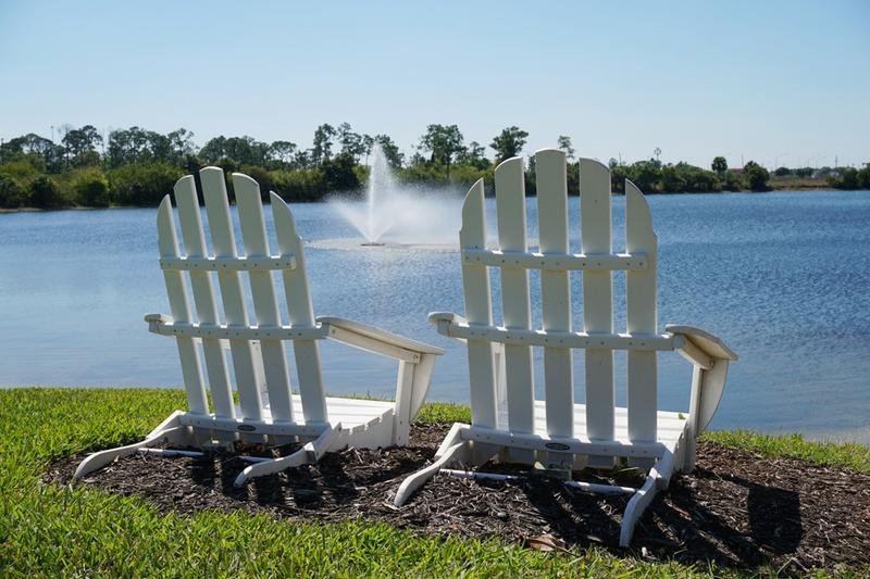Adirondack Seating | Enjoy the beautiful lake views from our Adirondack chairs around the community.