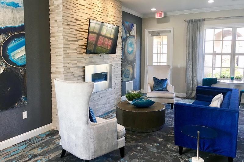 Fireplace | Relax by the fireplace in our community lounge.