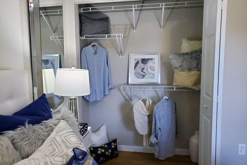 Closet | Spacious closets with built-in shelving will help you to stay organized.