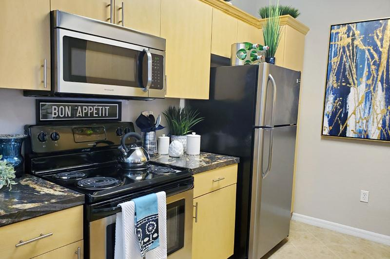 Stainless Steel Appliances | Our updated kitchens feature stainless steel appliances.