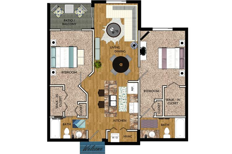 2D | Jacaranda contains 2 bedrooms and 2 bathrooms in 1242 square feet of living space.
