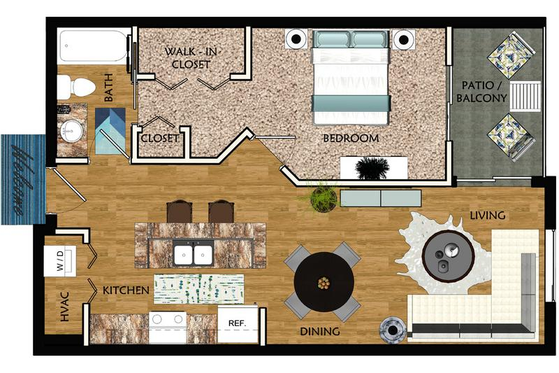 2D | Wisteria contains 1 bedroom and 1 bathroom in 822 square feet of living space.