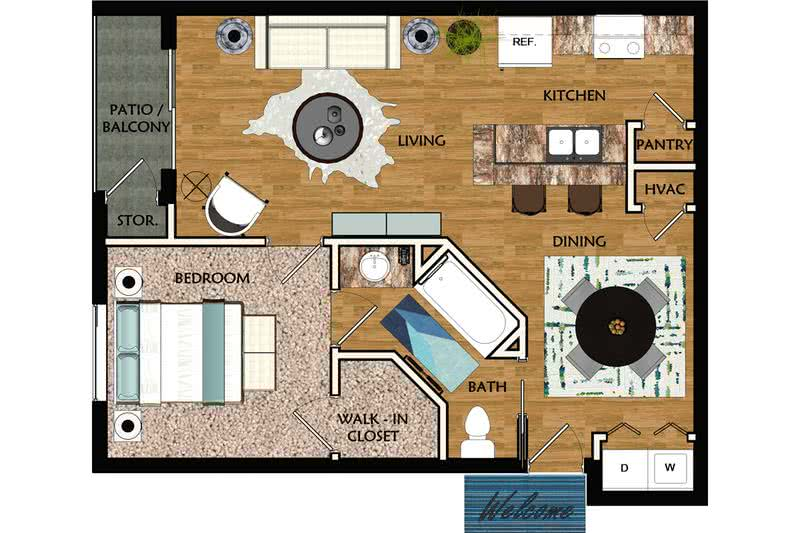 2D | Azalea contains 1 bedroom and 1 bathroom in 757 square feet of living space.