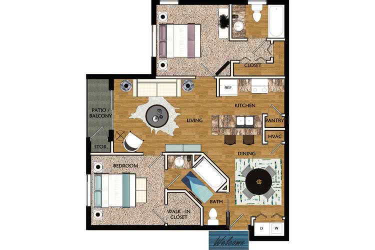 2D | Gardenia contains 2 bedrooms and 2 bathrooms in 1029 square feet of living space.