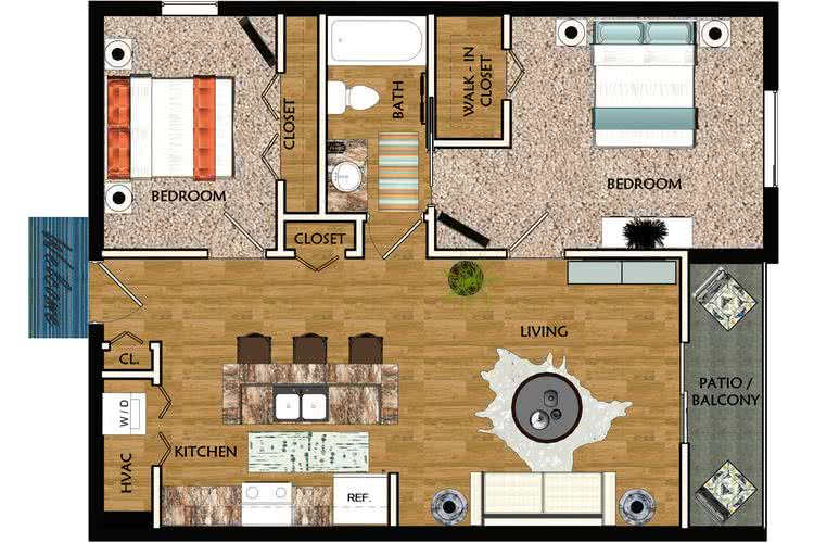 2D | Jasmine contains 2 bedrooms and 1 bathrooms in 990 square feet of living space.