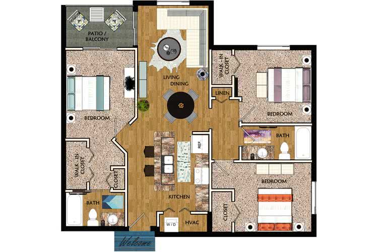 2D | Magnolia contains 3 bedrooms and 2 bathrooms in 1382 square feet of living space.