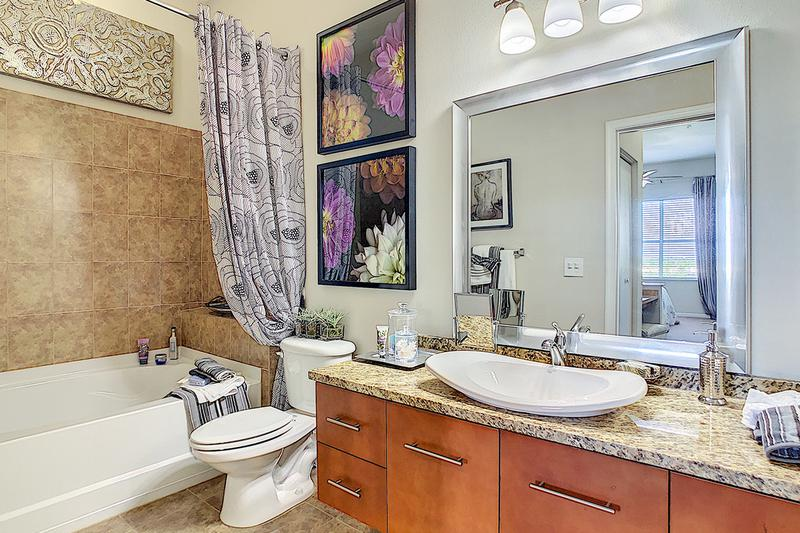Master Bathroom | Master bathrooms featuring granite-style counter tops, wood-style flooring, and large mirrors.