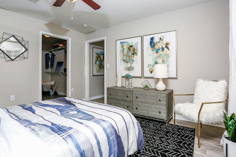 Master Bedroom | Spacious master bedrooms featuring a multi-speed ceiling fan.