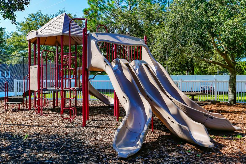 Playground | Bring the kids to our playground on-site featuring plenty of swings, a slide, and more!
