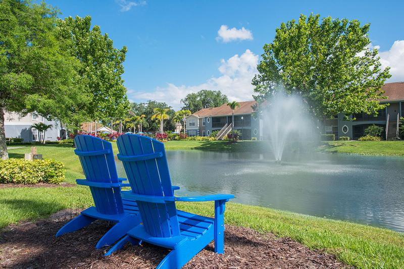 Lake Views | Enjoy the beautiful lake views from one of our Adirondack chairs.