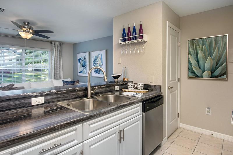 Breakfast Bar | Kitchens feature a breakfast bar overlooking the living area.