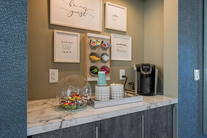 Coffee Bar | Come on into the clubhouse for a complimentary coffee!