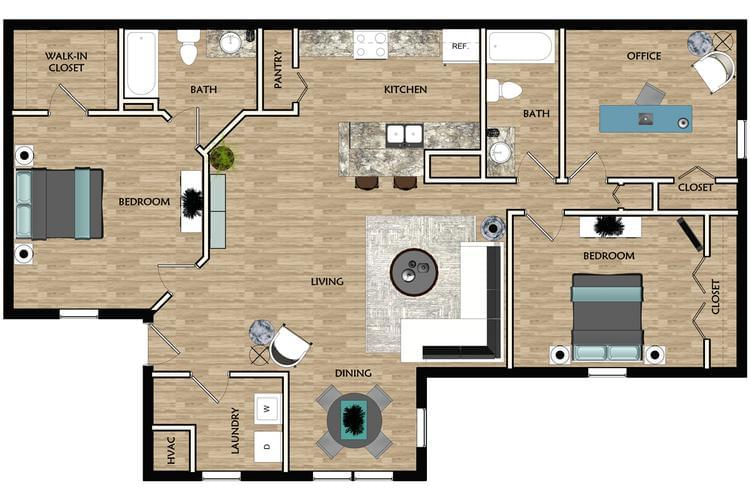 2D | The Birch contains 2 bedrooms and 2 bathrooms in 1081 square feet of living space.