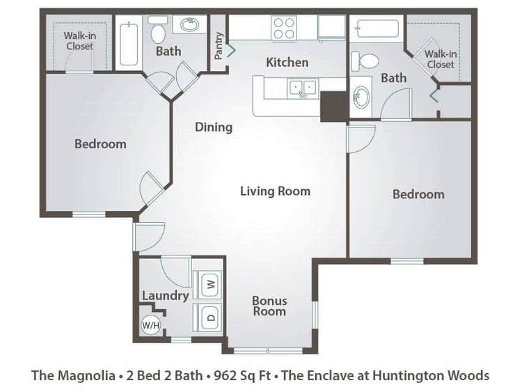 2D | The Magnolia contains 2 bedrooms and 2 bathrooms in 962 square feet of living space.