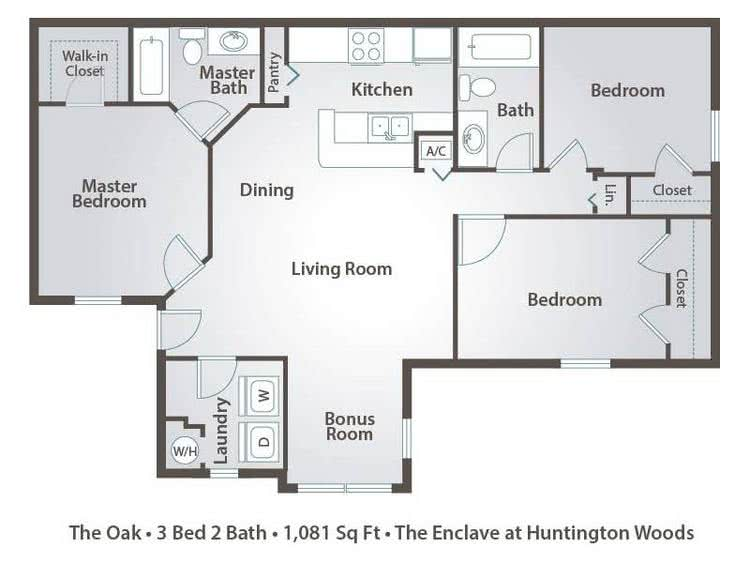 2D | The Oak contains 3 bedrooms and 2 bathrooms in 1081 square feet of living space.