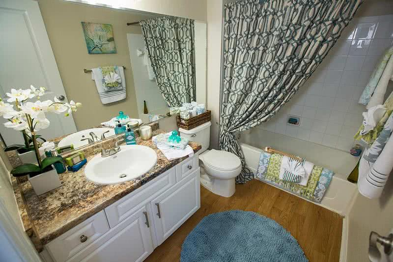 Bathroom | Updated bathrooms featuring wood-style flooring and large mirrors. (In select apartments)