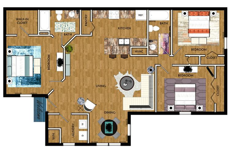 2D | The Haven contains 3 bedrooms and 2 bathrooms in 1080 square feet of living space.