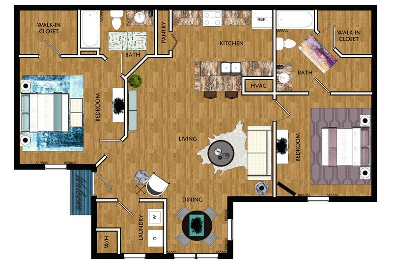 2D | The Palm contains 2 bedrooms and 2 bathrooms in 962 square feet of living space.