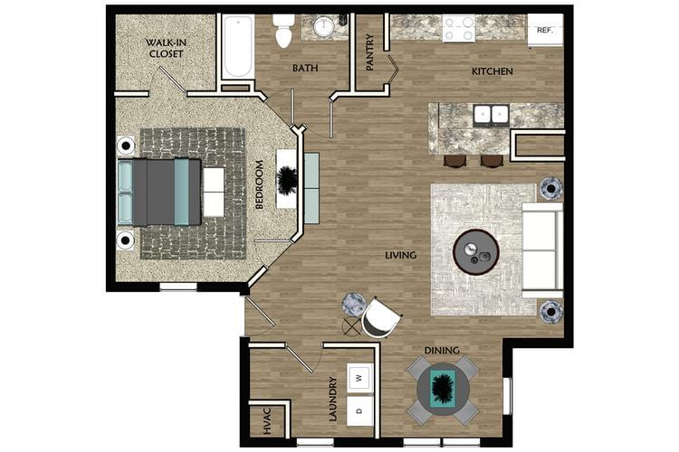 2D | The Cove contains 1 bedroom and 1 bathroom in 709 square feet of living space.