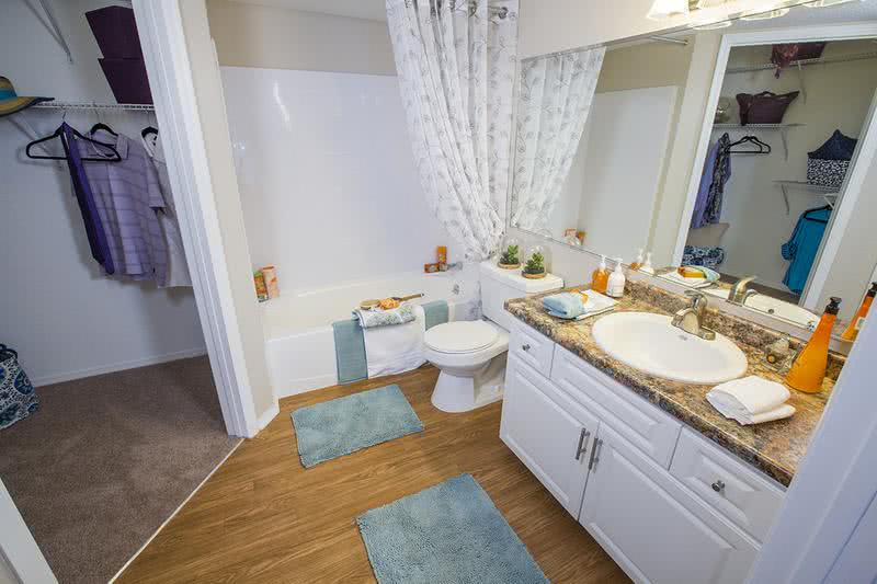 Bathroom | Newly remodeled bathrooms featuring updated counter tops, cabinetry and large mirrors.