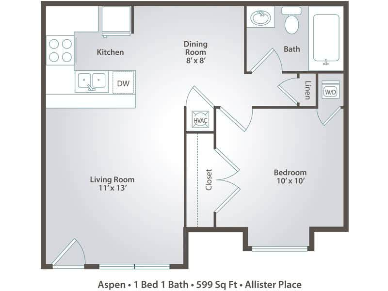 2D | Aspen contains 1 bedroom and 1 bathroom in 599 square feet of living space.