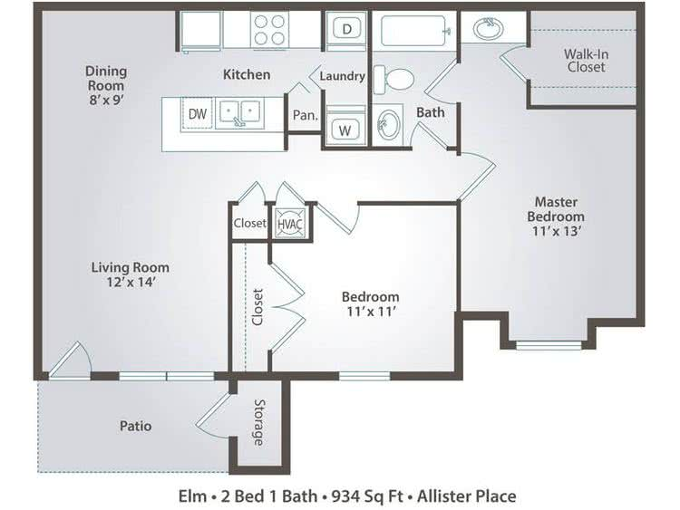 2D | Elm contains 2 bedrooms and 1 bathrooms in 934 square feet of living space.