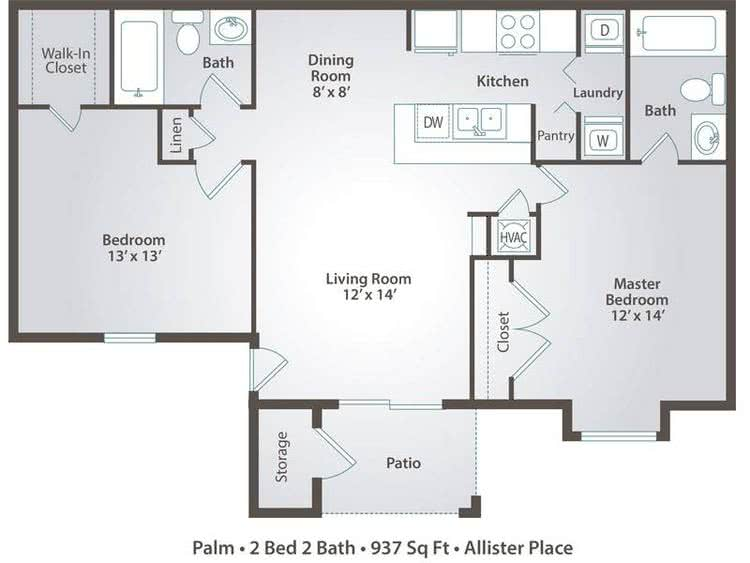 2D | Palm contains 2 bedrooms and 2 bathrooms in 937 square feet of living space.