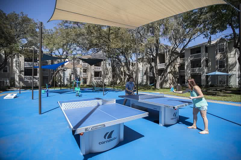 Ping Pong Tables | Play a game at our outdoor ping pong tables located in the Sports Court.