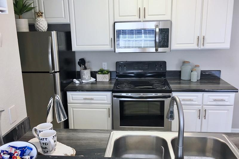 Stainless Steel Appliances | Our newly renovated kitchens feature stainless steel appliances.