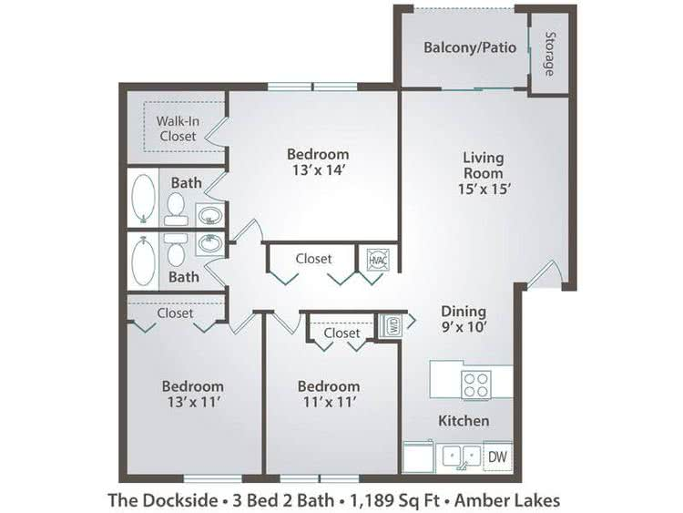 2D | The Dockside contains 3 bedrooms and 2 bathrooms in 1189 square feet of living space.