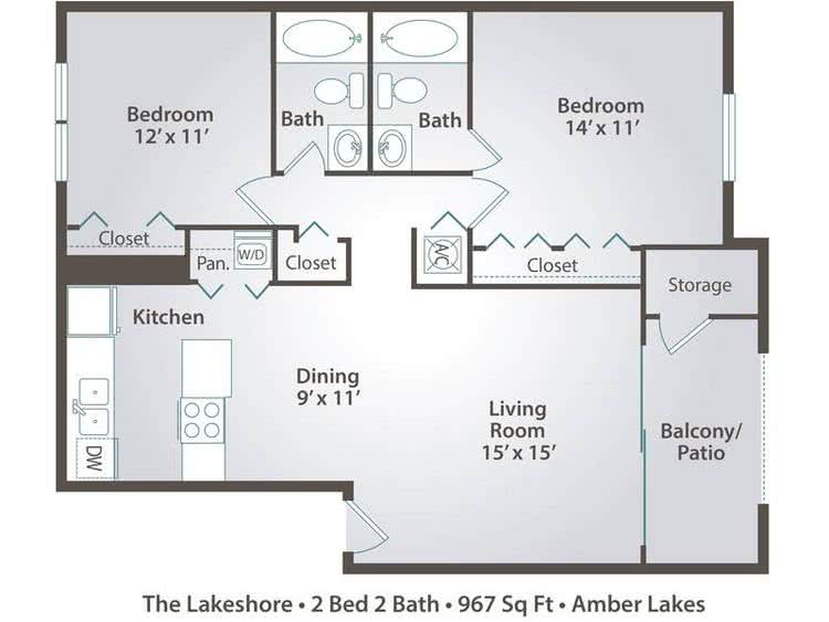 2D | The Lakeshore contains 2 bedrooms and 2 bathrooms in 967 square feet of living space.