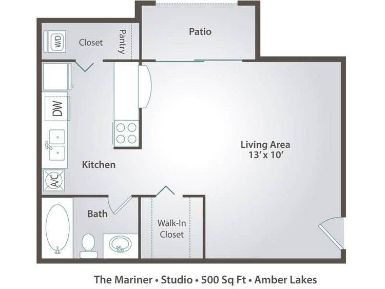 2D | The Mariner is a studio with 500 square feet of living space.