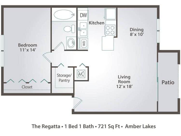 2D | The Regatta contains 1 bedroom and 1 bathroom in 721 square feet of living space.