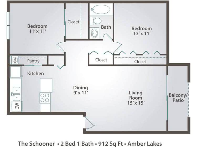 2D | The Schooner contains 2 bedrooms and 1 bathrooms in 912 square feet of living space.