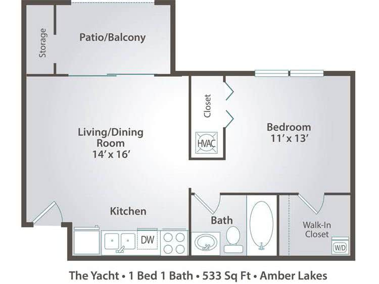2D | The Yacht contains 1 bedroom and 1 bathroom in 533 square feet of living space.