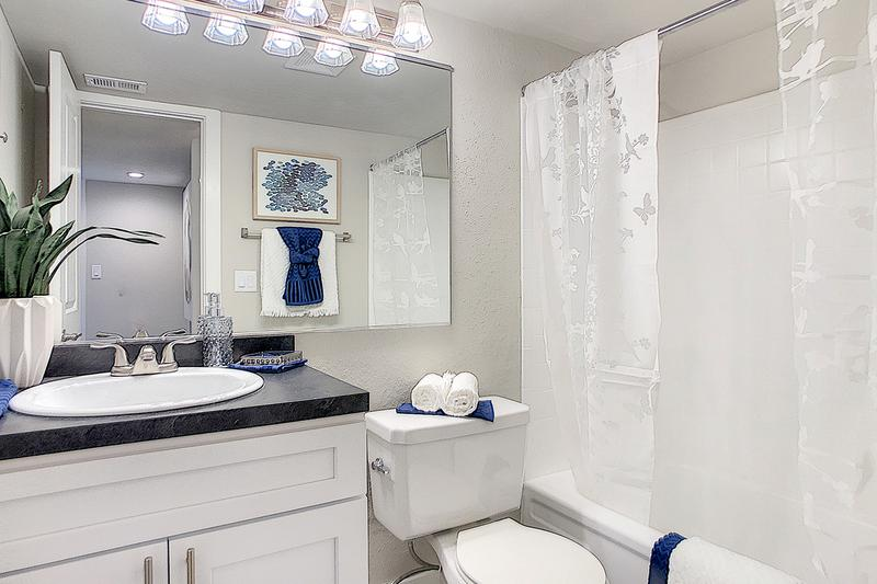 Bathroom | Newly renovated bathrooms with black-fusion counter tops, wood-style flooring, and large mirrors.