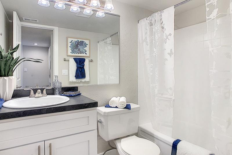 Bathroom | Updated bathrooms featuring white cabinetry, black fusion counter tops, and large mirrors.