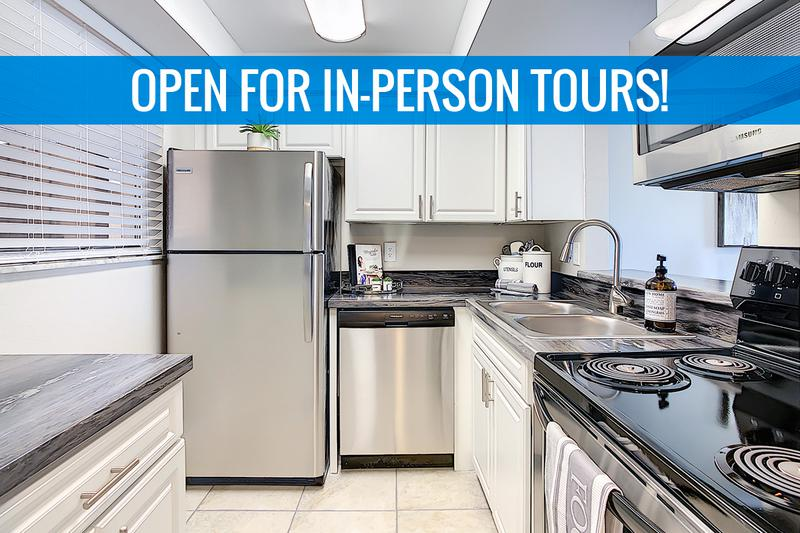 Kitchen | We are excited to offer in-person tours while following social distancing and we encourage all visitors to wear a face covering. Newly renovated kitchens featuring black fusion countertops and ample cabinetry.