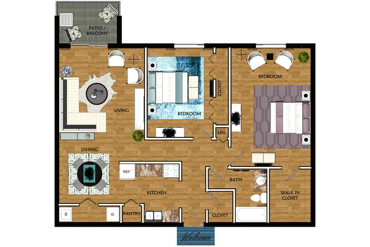 2D | The Knowles contains 2 bedrooms and 1 bathrooms in 997 square feet of living space.