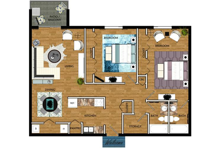 2D | The Melbourne contains 2 bedrooms and 2 bathrooms in 1047 square feet of living space.