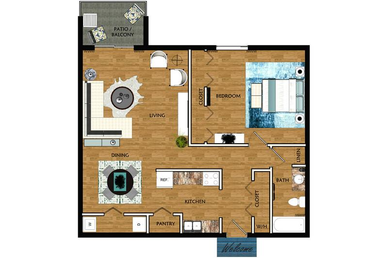 2D | The Morse contains 1 bedroom and 1 bathroom in 776 square feet of living space.