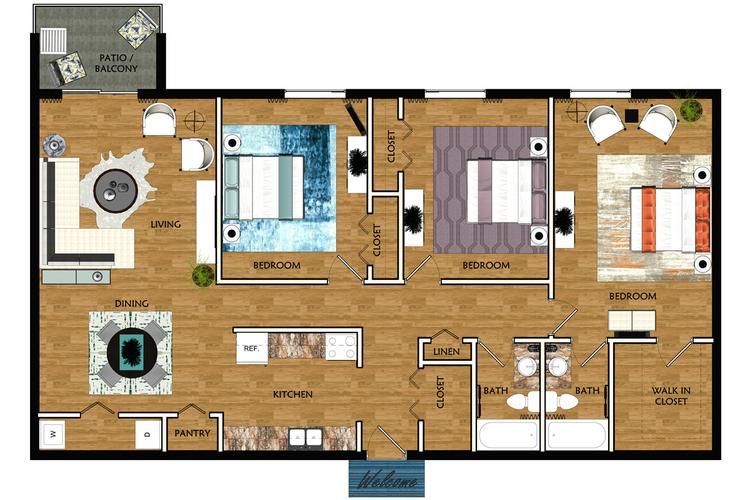 2D | The Park contains 3 bedrooms and 2 bathrooms in 1218 square feet of living space.