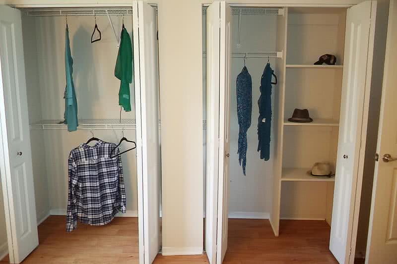 Dual Closets | Enjoy large dual closets with built-in shelving and organizers!