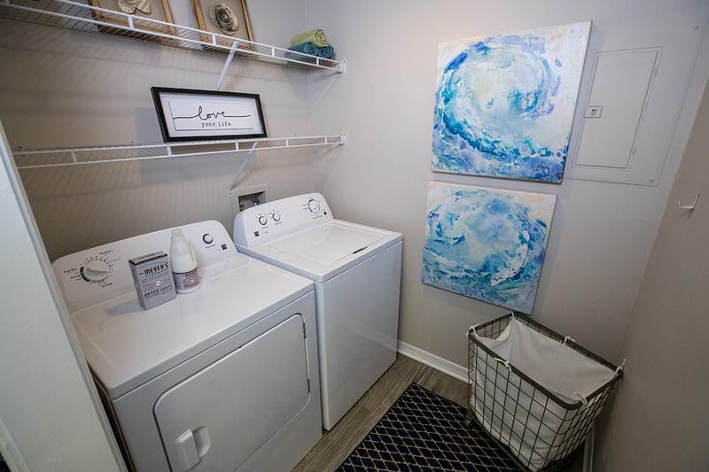 Washer and Dryer Appliances | Laundry is a breeze with full size washer and dryers included in every home.