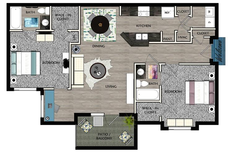 2D |  The Easton contains 2 bedrooms and 2 bathrooms in 1149 square feet of living space.