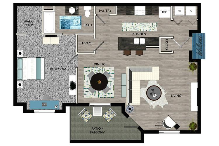 2D | The Kenley contains 1 bedroom and 1 bathroom in 874 square feet of living space.