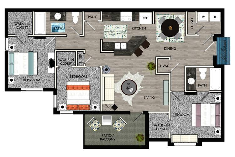 2D |  The Ryan contains 3 bedrooms and 2 bathrooms in 1388 square feet of living space.
