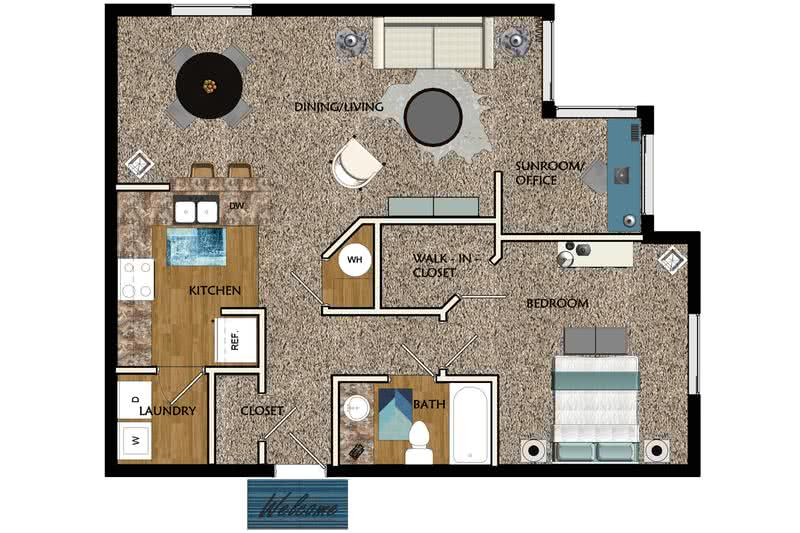 2D |  The Fox contains 1 bedroom and 1 bathroom in 830 square feet of living space.